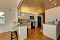 Keukengebied met met panelen bekleed vaultd plafond Royalty-vrije Stock Afbeeldingen
