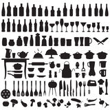 Keukengereedschap, kokende pictogrammen Royalty-vrije Stock Fotografie