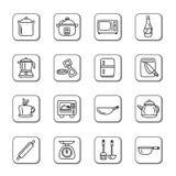 Keukengerei en Toestellenkrabbelpictogrammen Stock Foto