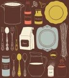 Keukengerei en voedsel Cookware, huis kokende achtergrond Stock Foto