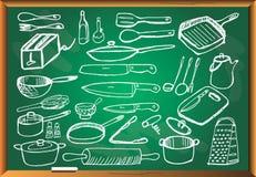 Keukengerei op bord Royalty-vrije Stock Afbeelding