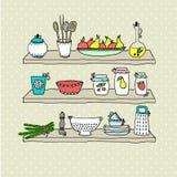 Keukengerei op planken, schetstekening Stock Afbeeldingen
