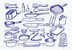 Keukengerei op voorbeeldenboekachtergrond stock illustratie