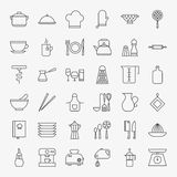 Keukengereilijn Art Design Icons Big Set Stock Foto