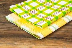 Keukenhanddoeken, servetten met verschillende patronen stock afbeelding