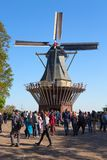 Keukenhof, οι Κάτω Χώρες - το Μάιο του 2018: Οι ανθίζοντας ζωηρόχρωμες τουλίπες δημόσια ο κήπος Keukenhof λουλουδιών με τον ανεμό στοκ εικόνες