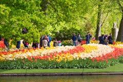 Keukenhof, Países Baixos - em maio de 2018: As tulipas coloridas de passeio do throung dos turistas e dos visitantes perto do ban fotos de stock royalty free
