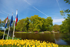 Keukenhof park pond Royalty Free Stock Photo