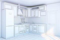 Keukenkasten in binnenland vector illustratie