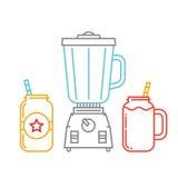 Keukenmixer en twee metselaarkruiken met smoothie royalty-vrije illustratie