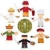 Keukennaties van de wereld, vlakke verschillende chef-koks Stock Fotografie