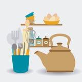Keukenontwerp, vectorillustratie Stock Foto