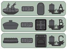 Keukenpictogrammen voor gewoonlijk voedsel Royalty-vrije Stock Afbeeldingen