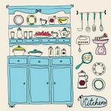 Keukenreeks binnen Ontwerpelementen van keuken Royalty-vrije Stock Fotografie