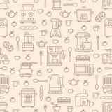 Keukenwerktuig, klein toestellen beige naadloos patroon met vlakke lijnpictogrammen Achtergrond met huishouden kokende hulpmiddel Royalty-vrije Stock Foto's