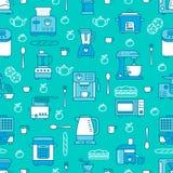 Keukenwerktuig, klein toestellen blauw naadloos patroon met vlakke lijnpictogrammen Achtergrond met huishouden kokende hulpmiddel Stock Afbeelding