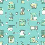 Keukenwerktuig, klein toestellen groen naadloos patroon met vlakke lijnpictogrammen Achtergrond met huishouden kokende hulpmiddel Stock Afbeelding