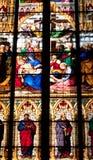 Keulen, dichte omhooggaand van het Venster van de HoofdKathedraal Royalty-vrije Stock Foto's