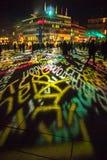 Keulen, Duitsland - Januari 16, 2017: Lichte installatie rond de kathedraal van Keulen Royalty-vrije Stock Foto