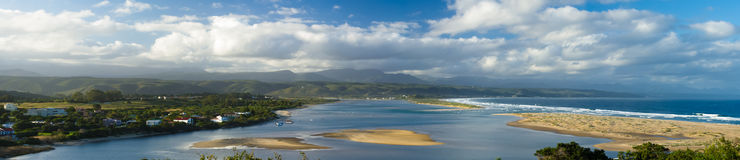Keurbooms River Estuary and Mouth. One of Plettenberg Bay`s iconic views Stock Photography