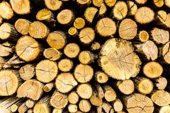 Keurig pijnboom gehakt die brandhout in woodpile wordt gestapeld stock fotografie