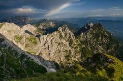 Keurig verlicht Julian Alps van Mangart-Pas, het nationale park van Triglav, Slovenië, Europa royalty-vrije stock foto's