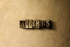 KEURT - close-up van grungy wijnoogst gezet woord op metaalachtergrond goed Stock Afbeeldingen