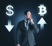 Keus, cryptocurrency en financiënconcept stock foto