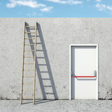 Keus tussen de deur en de ladder Stock Fotografie