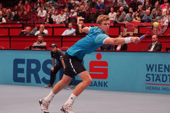 Kevin Anderson (RSA). VIENNA, AUSTRIA - OCTOBER 22, 2015: Kevin Anderson (RSA) during his 2nd round match against Jiri Vesely (CZE) at the Erste Bank Open in Royalty Free Stock Photos