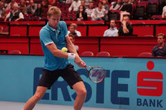 Kevin Anderson (RSA). VIENNA, AUSTRIA - OCTOBER 22, 2015: Kevin Anderson (RSA) during his 2nd round match against Jiri Vesely (CZE) at the Erste Bank Open in Stock Photos