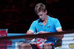 Kevin Anderson (RSA). VIENNA, AUSTRIA - OCTOBER 22, 2015: Kevin Anderson (RSA) during his 2nd round match against Jiri Vesely (CZE) at the Erste Bank Open in Royalty Free Stock Images