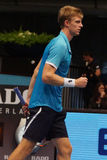Kevin Anderson (RSA). VIENNA, AUSTRIA - OCTOBER 23, 2015: Kevin Anderson (RSA) during his quarter final match against Steve Johnson (USA) at the Erste Bank Open Royalty Free Stock Image