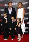 Kevin Costner, Christine Baumgartner, Grace Avery Costner, Hayes Logan Costner and Cayden Wyatt Costner Royalty Free Stock Photography