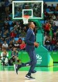 Kevin Durant d'équipe Etats-Unis réchauffe pour le match de basket du groupe A entre l'équipe Etats-Unis et l'Australie images libres de droits