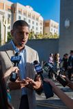 Kevin Johnson 9. Sacramento Mayor Kevin Johnson talks to reporters at the 4th Annual Farm to Fork Tower Bridge Dinner in Sacramento, California - Photographer Stock Photography