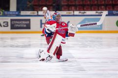 Kevin Laland (35), goaltender of CSKA team Royalty Free Stock Photo