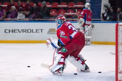 Kevin Laland (35), goaltender. MOSCOW - MARCH 12: Kevin Laland (35), goaltender on the gate on hockey game Yokerit vs CSKA on Russia KHL championship on March 12 Royalty Free Stock Image