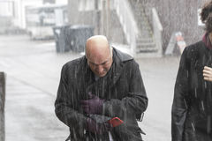 Kevin O'Leary in snow storm Stock Image