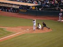Kevin Youkilis up to bat with Kurt Suzuki catching Stock Photo