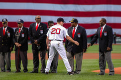 Kevin Youkilis welcomes the Tuskegee Airman at Fenway Park Royalty Free Stock Photo