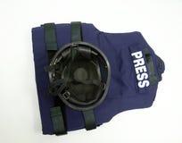 Kevlar helmet and ballistic vest stock photos
