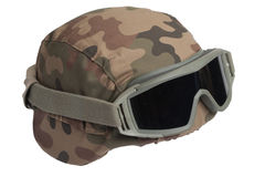 Kevlar helmet with camouflage cover Royalty Free Stock Photos