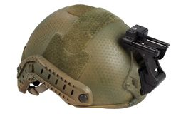 Kevlar helmet with night vision mount isolated. On white Royalty Free Stock Photo