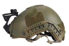 Kevlar helmet with night vision mount. Isolated on white Stock Images