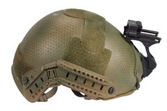 Kevlar helmet with night vision mount. Isolated on white Royalty Free Stock Image
