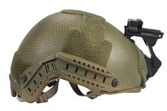 Kevlar helmet with night vision mount. Isolated on white Royalty Free Stock Photos