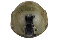 Kevlar helmet with night vision mount. Isolated on white Stock Photography