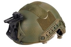 Kevlar helmet with night vision mount. Isolated on white Stock Image