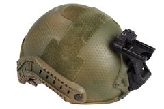Kevlar helmet with night vision mount. Isolated on white Royalty Free Stock Photography